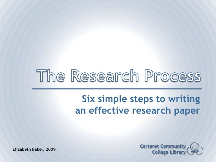 The Research Process<br />Six simple steps to writing an effective research paper<br />Carteret Community College Library<...