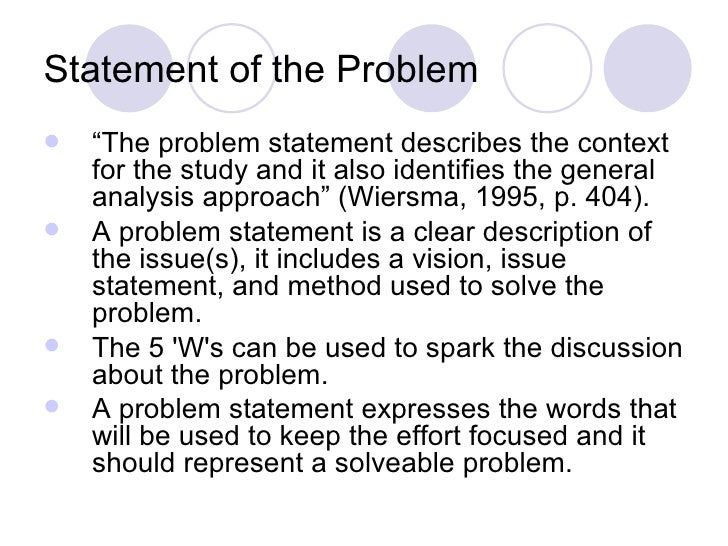 statement of the problem in thesis proposal A problem statement describes a problem or issue that needs to be solved in have a thesis expert improve how to write a problem statement for your.