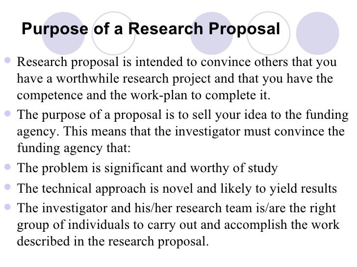 purpose about an important thesis proposal