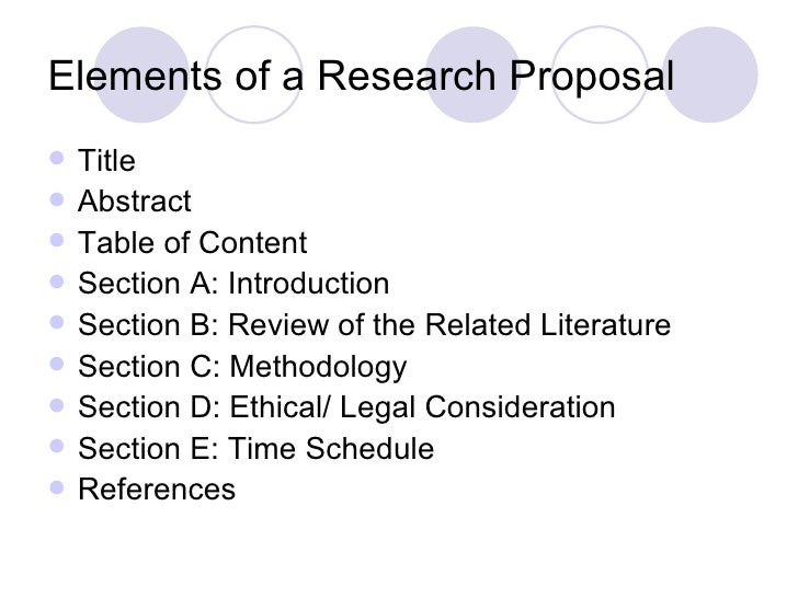 The Research Proposal   Elements Of A Research Proposal