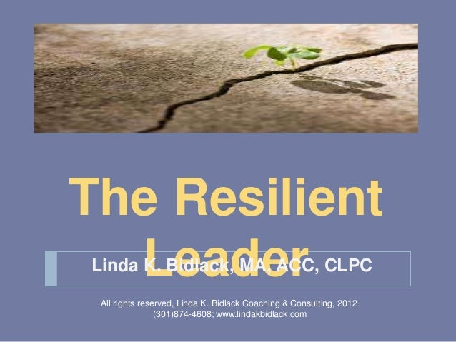 The Resilient  LeaderLinda K. Bidlack, MA, ACC, CLPC All rights reserved, Linda K. Bidlack Coaching & Consulting, 2012    ...