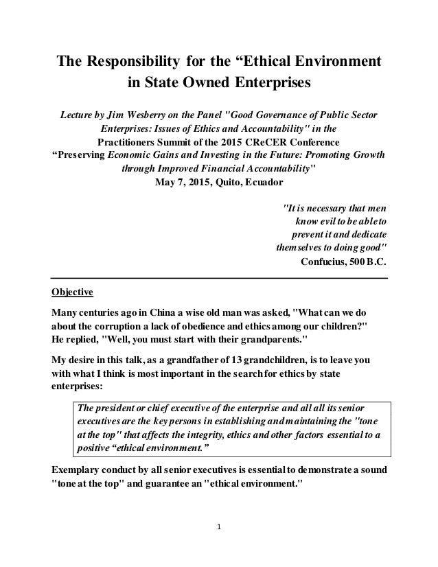 """1 The Responsibility for the """"Ethical Environment in State Owned Enterprises Lecture by Jim Wesberry on the Panel """"Good Go..."""
