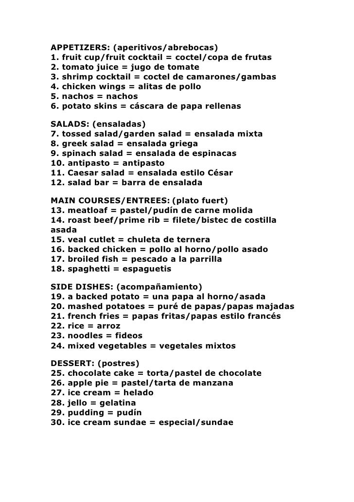 APPETIZERS: (aperitivos/abrebocas) 1. fruit cup/fruit cocktail = coctel/copa de frutas 2. tomato juice = jugo de tomate 3....