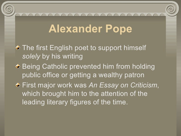 Alexander pope to err is human an essay on criticism