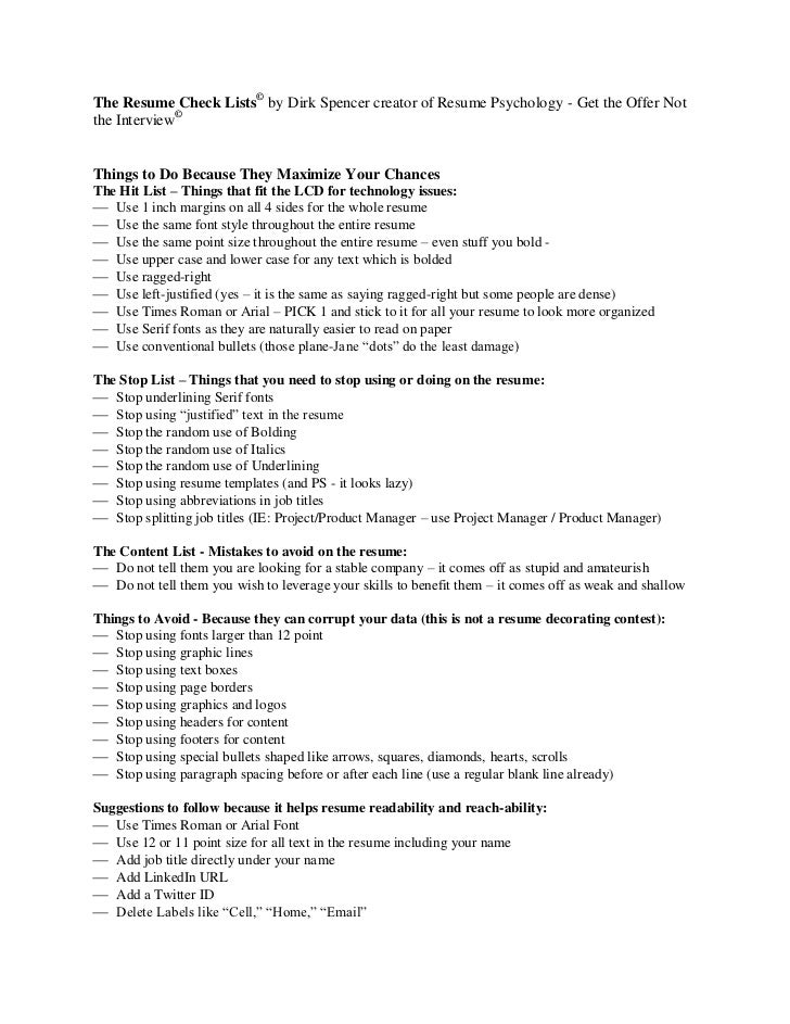 The Resume Check Lists© By Dirk Spencer Creator Of Resume Psychology   Get  The Offer ...
