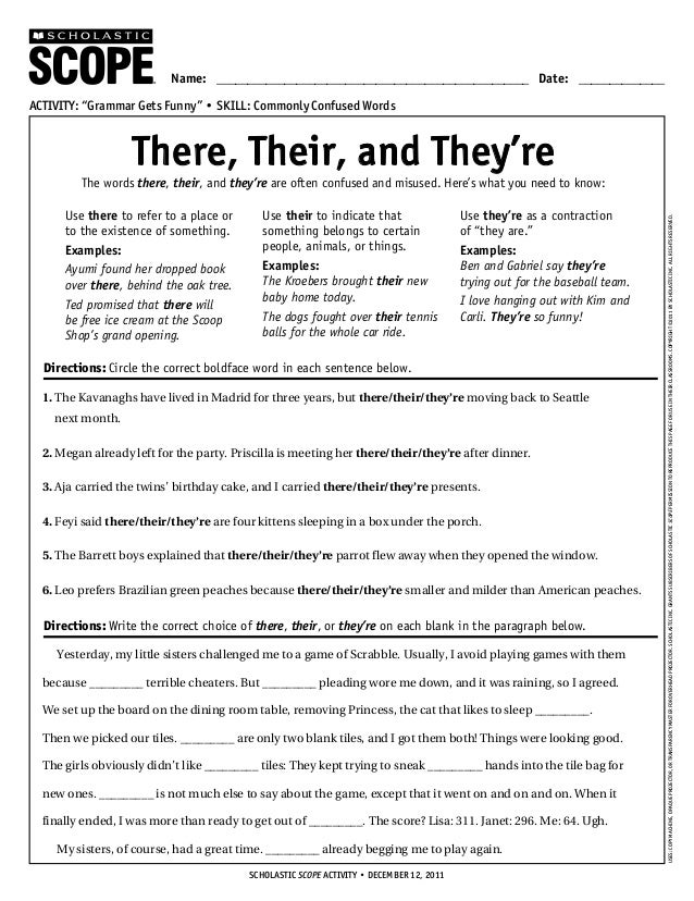 Theretheir – Their They Re There Worksheet