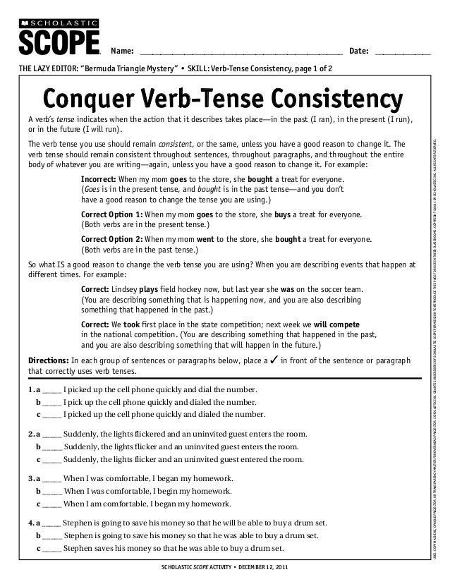 {verb tense consistency worksheet Termolak – Verb Tense Consistency Worksheet