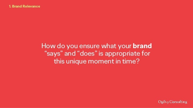 """How do you ensure what your brand """"says"""" and """"does"""" is appropriate for this unique moment in time? 1. Brand Relevance"""