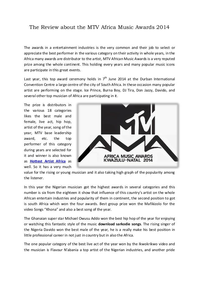 The Review about the MTV Africa Music Awards 2014