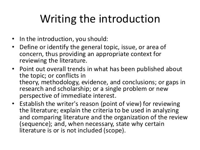 review of related literature introduction Note key statistics that you may want to use in the introduction to your review select useful quotes that you may want to include in your make sure that the articles you find are relevant and directly related to your topic literature review chapter from unpublished master's.