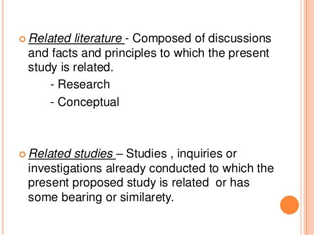Difference between related literature and related studies in thesis