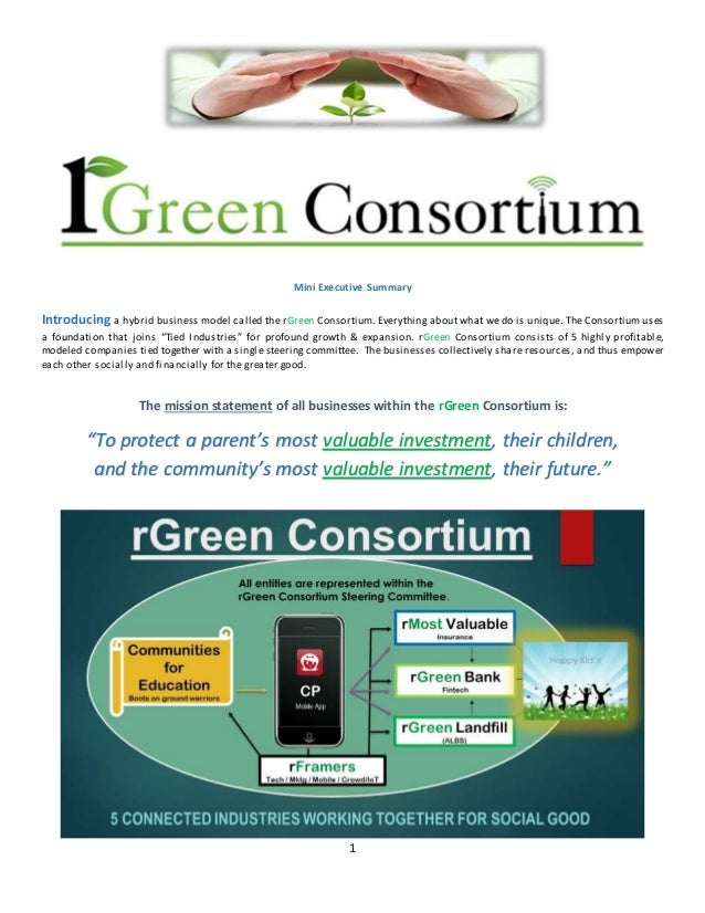 1 Mini Executive Summary Introducing a hybrid business model called the rGreen Consortium. Everything about what we do is ...