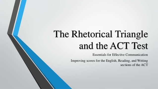 The Rhetorical Triangle and the ACT Test Essentials for Effective Communication Improving scores for the English, Reading,...