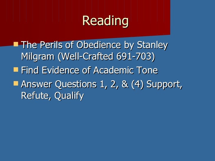 the perils of obedience rhetorical essay View perils of obedience essay from en 101 at montgomery college burak ucal  en-101 09/10/13 the perils of obedience the perils of obedience, by.