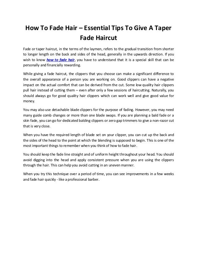 How To Fade Hair Essential Tips To Give A Taper Fade Haircut
