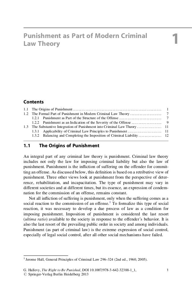 Punishment as Part of Modern CriminalLaw Theory 1Contents1.1 The Origins of Punishment ......................................