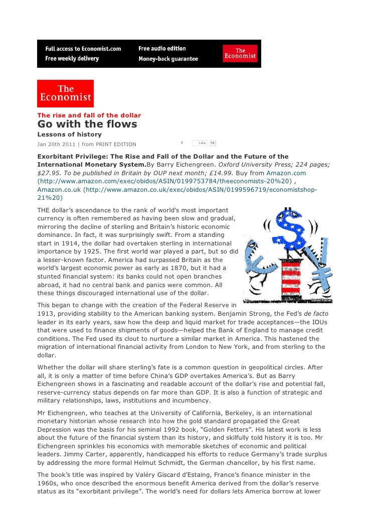 The rise and fall of the dollarGo with the flowsLessons of historyJan 20th 2011 | from PRINT EDITION               1     L...