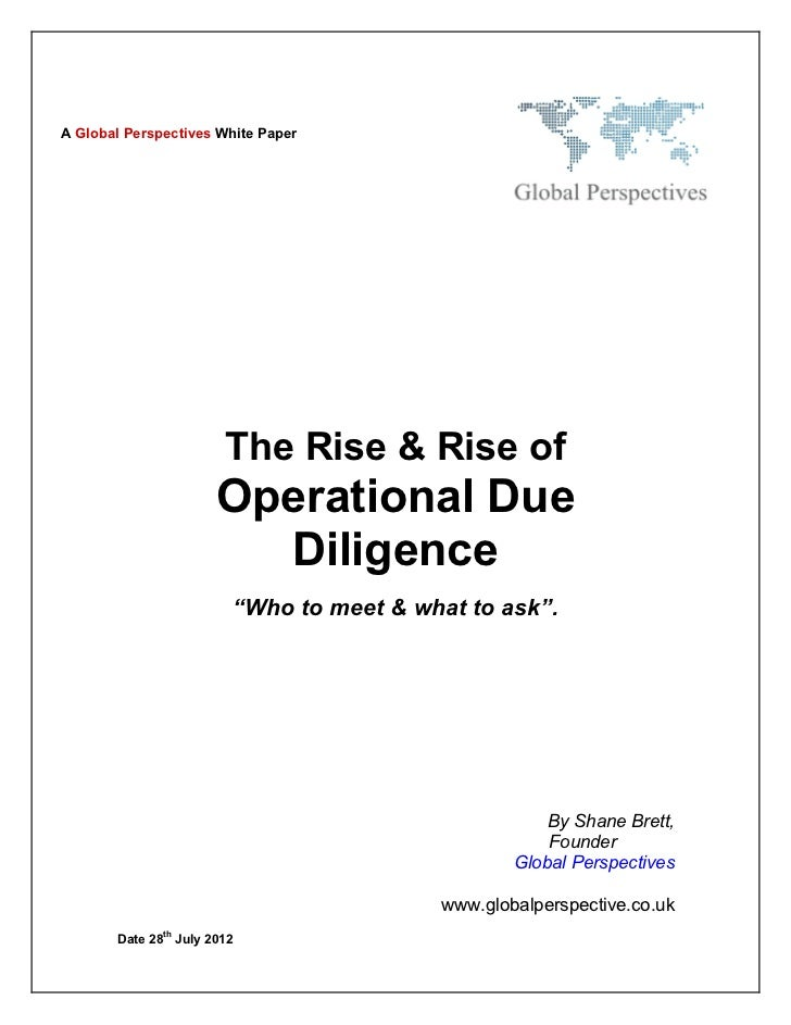 A Global Perspectives White Paper                        The Rise & Rise of                       Operational Due         ...