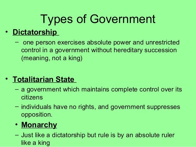 types of totalitarianism Totalitarianism: totalitarianism is a form of government that seeks to subordinate all aspects of individual life to the authority of the state.