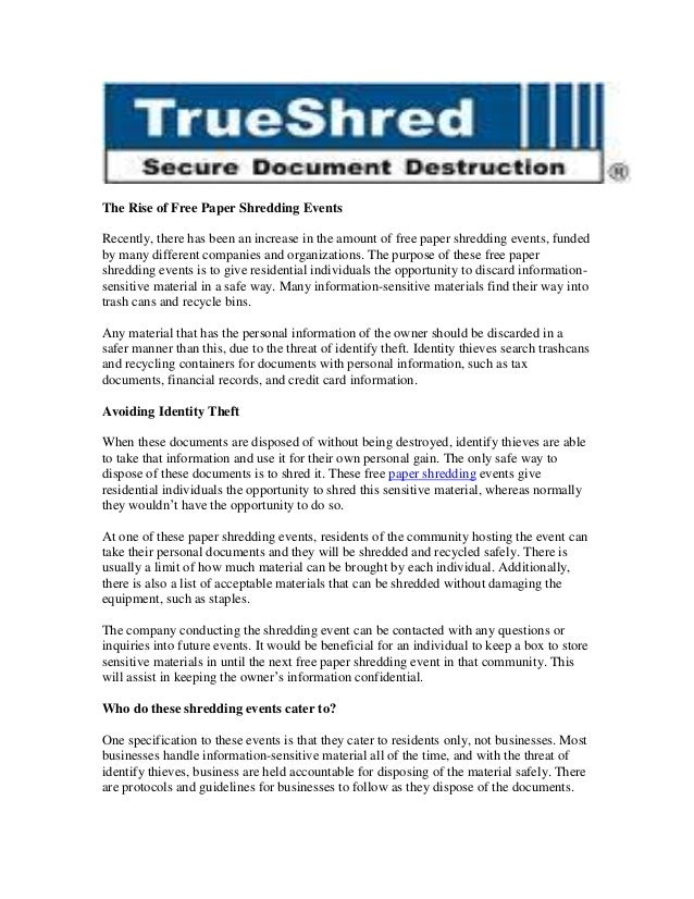 The Rise of Free Paper Shredding Events