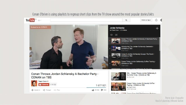Pierre-Jean Choquelle Head of planning @Brand Station Conan O'brien is using playlists to regroup short clips from the TV ...