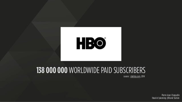 Pierre-Jean Choquelle Head of planning @Brand Station 138 000 000 WORLDWIDE PAID SUBSCRIBERS source : statista.com, 2014