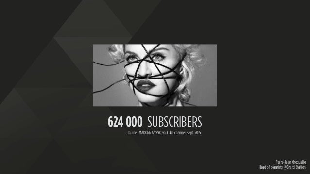 Pierre-Jean Choquelle Head of planning @Brand Station 624 000 SUBSCRIBERS source : MADONNA VEVO youtube channel, sept. 2015