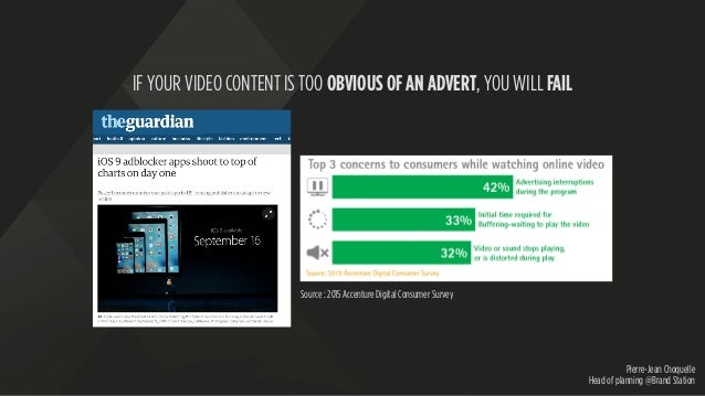 Pierre-Jean Choquelle Head of planning @Brand Station IF YOUR VIDEO CONTENT IS TOO OBVIOUS OF AN ADVERT, YOU WILL FAIL Sou...