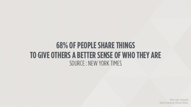 68% OF PEOPLE SHARE THINGS TO GIVE OTHERS A BETTER SENSE OF WHO THEY ARE SOURCE : NEW YORK TIMES Pierre-Jean Choquelle Hea...