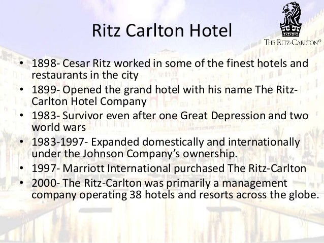 ritz carlton management Measuring the effectiveness of service management  measuring the effectiveness of service management on priority assessment:  ritz-carlton' smanagement,thenfurther.