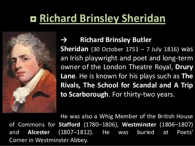 the rivals essay Richard brinsley sheriadan's life to say that richard brinsley sheridan had an easy life without a lot of problems would be a stretch richard.