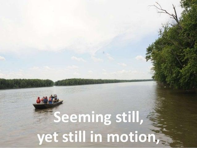 Seeming still,  yet still in motion,