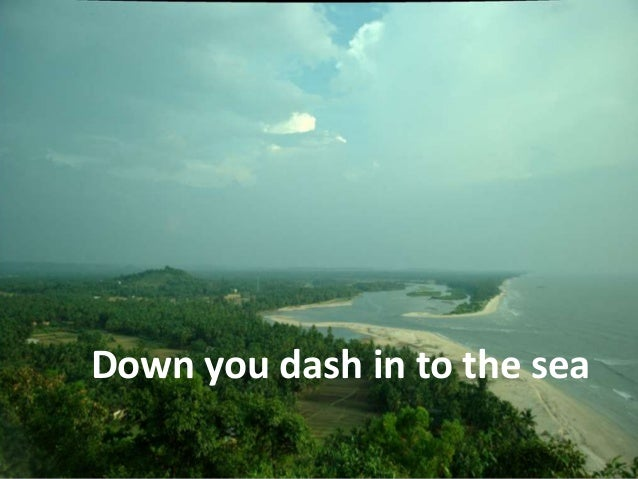 Down you dash in to the sea