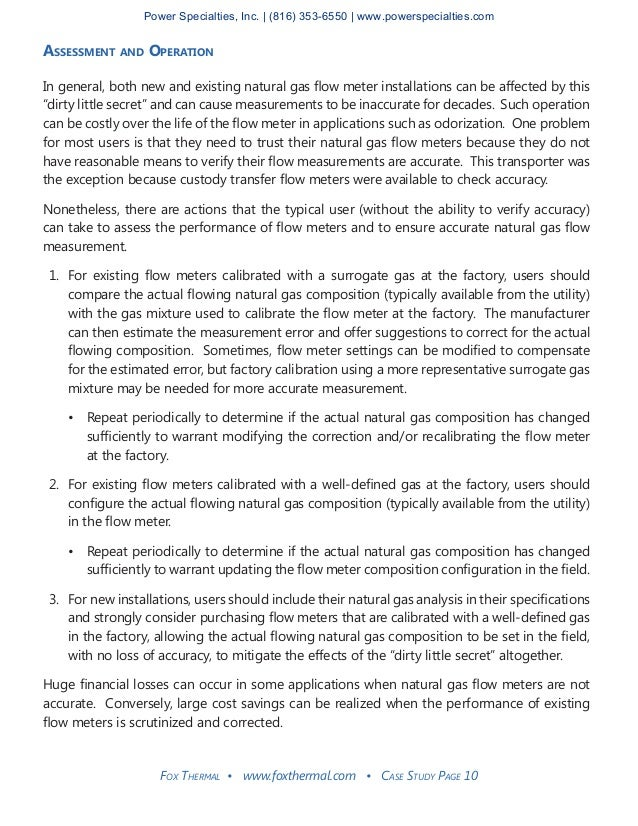 Fox Thermal • www.foxthermal.com • Case Study Page 10 Assessment and Operation In general, both new and existing natural g...