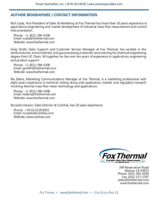 Fox Thermal • www.foxthermal.com • Case Study Page 11 AUTHOR BIOGRAPHIES / CONTACT INFORMATION Rich Cada, Vice President o...
