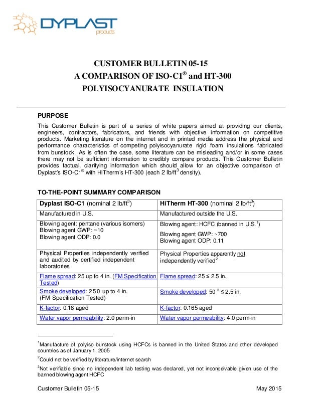 Customer Bulletin 05-15 May 2015 CUSTOMER BULLETIN 05-15 A COMPARISON OF ISO-C1® and HT-300 POLYISOCYANURATE INSULATION PU...