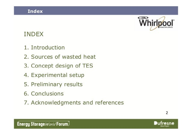 INDEX 1. Introduction 2. Sources of wasted heat 3. Concept design of TES Index 2 3. Concept design of TES 4. Experimental ...