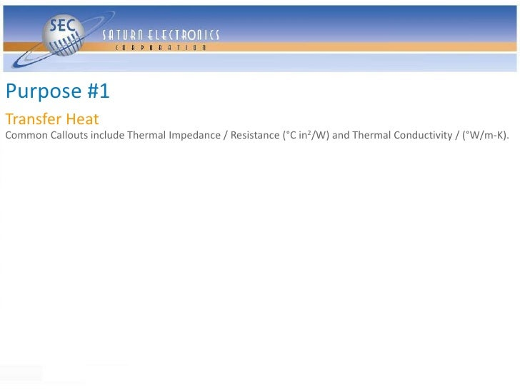 Purpose #1 Transfer Heat Common Callouts include Thermal Impedance / Resistance (°C in2/W) and Thermal Conductivity / (°W/...