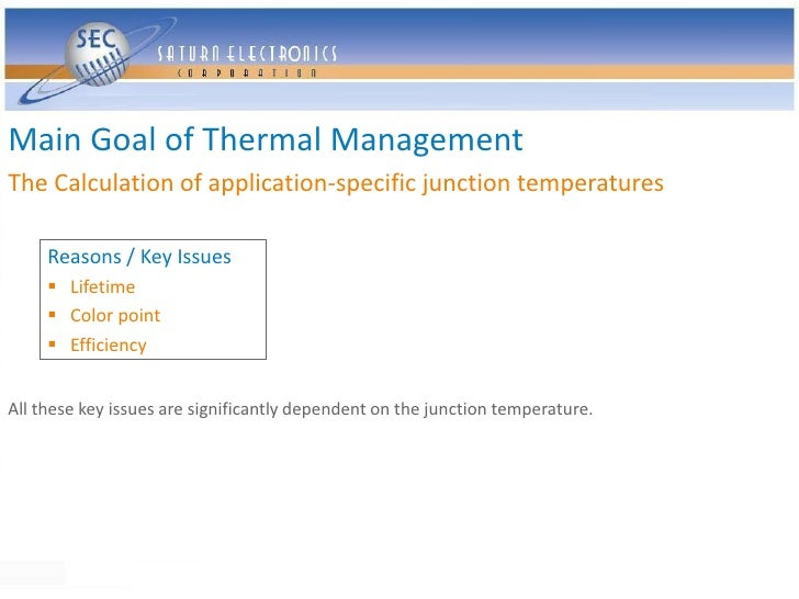 Main Goal of Thermal Management The Calculation of application-specific junction temperatures       Reasons / Key Issues  ...