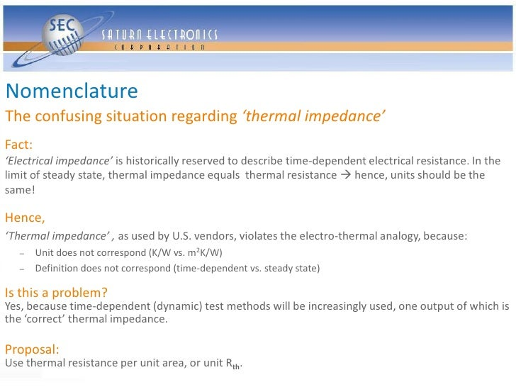 Nomenclature The confusing situation regarding 'thermal impedance' Fact: 'Electrical impedance' is historically reserved t...