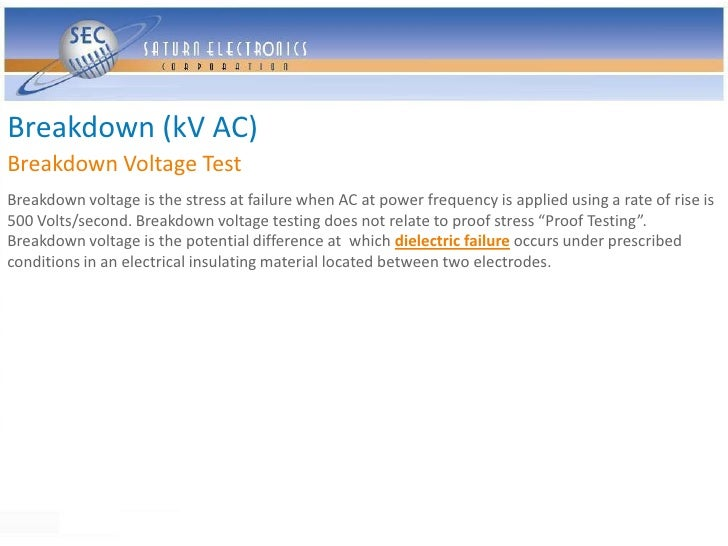 Breakdown (kV AC) Breakdown Voltage Test Breakdown voltage is the stress at failure when AC at power frequency is applied ...