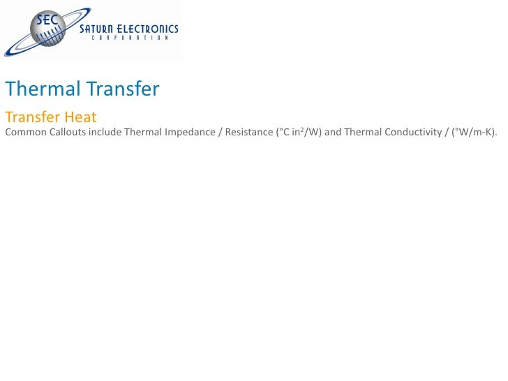 Thermal Transfer Transfer Heat Common Callouts include Thermal Impedance / Resistance (°C in2/W) and Thermal Conductivity ...