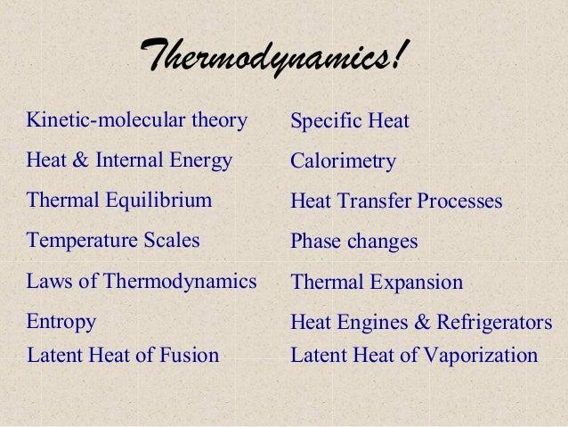 Thermodynamics! Kinetic-molecular theory  Specific Heat  Heat & Internal Energy  Calorimetry  Thermal Equilibrium  Heat Tr...
