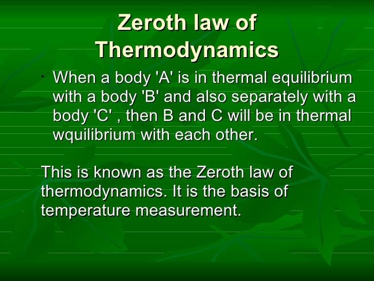 application of zeroth law of thermodynamics pdf