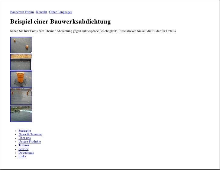 Bauherren Forum | Kontakt | Other Languages   Beispiel einer Bauwerksabdichtung Sehen Sie hier Fotos zum Thema quot;Abdich...