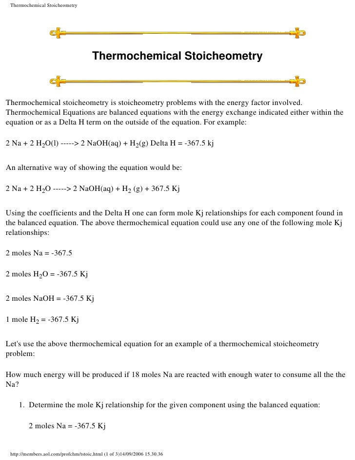 Thermochemical Stoicheometry                                           Thermochemical Stoicheometry    Thermochemical stoi...