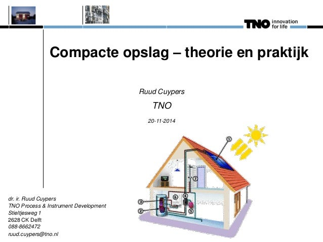 Compacte opslag – theorie en praktijk  Ruud Cuypers  TNO  20-11-2014  dr. ir. Ruud Cuypers TNO Process & Instrument Develo...