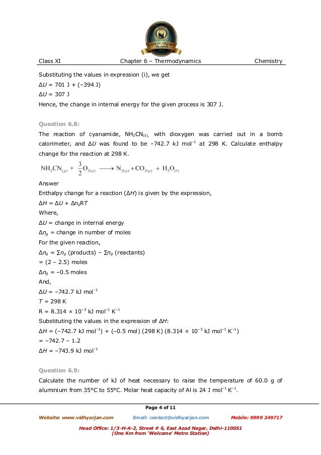 Thermodynamics exercise -with solutions