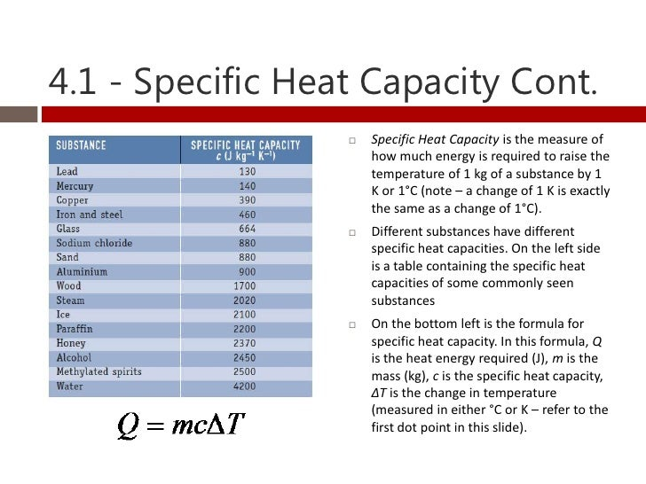 Thermodynamics heat and temperature for Specific heat table j gc