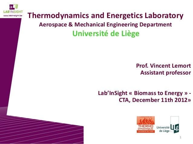 1 Thermodynamics and Energetics Laboratory Aerospace & Mechanical Engineering Department Université de Liège Prof. Vincent...